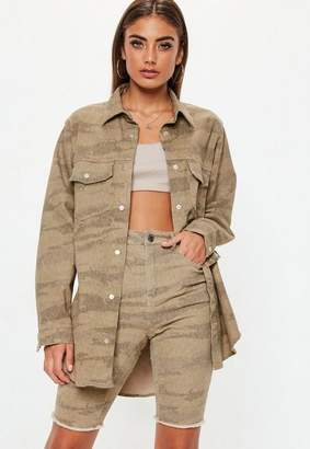 Missguided Sand Camo Print Oversized Denim Shirt