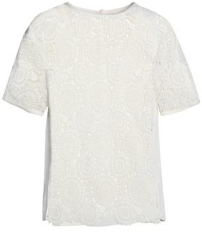 Chloé Guipure Lace-paneled Cotton-blend Top
