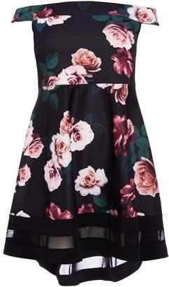 Quiz Curve Black Floral Bardot Dip Hem Dress