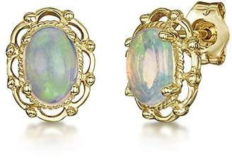 Theia 9ct Yellow Gold Oval Opal Stud Designed Earrings