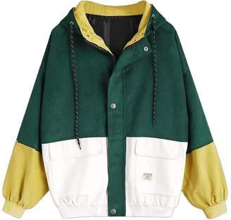 Hosatel-Tops Woen Hooded Coat Hosatel Long Sleeve Corduroy Patchwork Jacket Sportswear