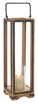 Benzara Mesmerizing Stylish Wood Metal Glass Lantern
