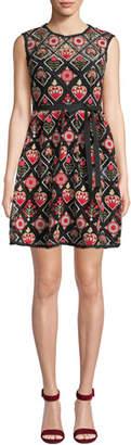RED Valentino Crewneck Sleeveless Hearts & Flowers Macramé Dress