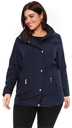 Evans Navy Blue Zip Trim Coat