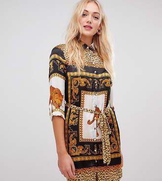 Parisian Tall chain scarf print shirt dress