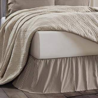 Ashton & Willow Creme Black White Farmhouse Bedding Kendra Stripe Cotton Split Corners Gathered Striped King Bed Skirt