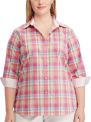 Chaps Plus Size Striped No-Iron Broadcloth Shirt