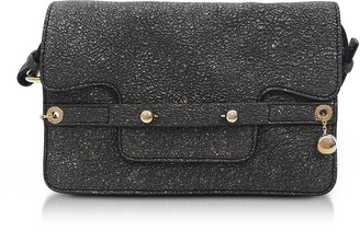 RED Valentino Gunmetal Crackled Metallic Leather Flap Top Crossbody Bag 8ca817d678494