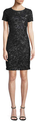 MICHAEL Michael Kors Short-Sleeve Crewneck Sequin Sheath Dress