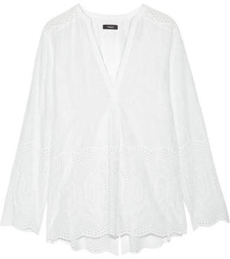 Theory - Ofeliah Broderie Anglaise Cotton Top - White $295 thestylecure.com