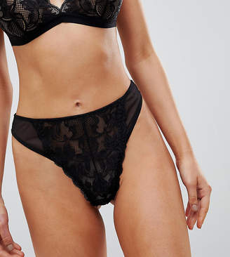 Wolfwhistle Wolf & Whistle Black Lace High Leg Thong