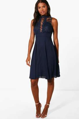 boohoo Lace Scallop Top Midi Skater Dress