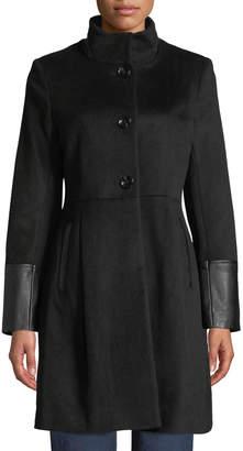 Via Spiga Single-Breasted Pea Coat W/ Faux Leather Trim