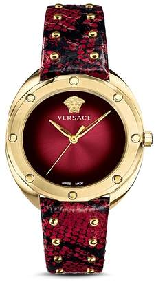 Versace Shadov Dark Red Snakeskin Watch, 38mm