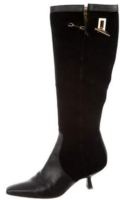 Gucci Square-Toe Low-Heel Boots