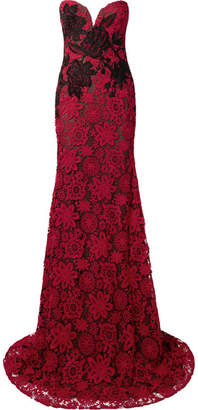 Naeem Khan Strapless Embroidered Guipure Lace Gown - Claret
