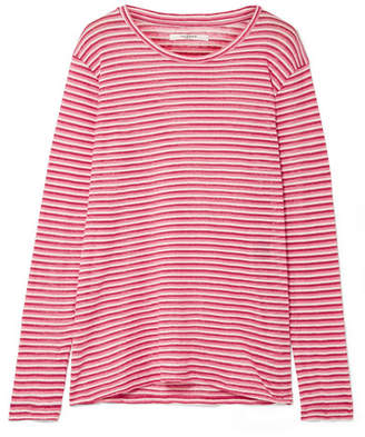 Etoile Isabel Marant Kaaron Striped Linen And Cotton-blend Top - Pink
