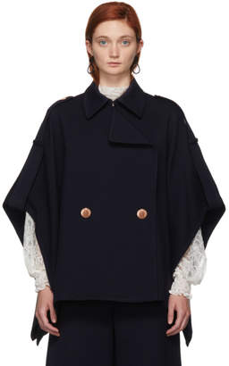 See by Chloe Navy Cape Coat