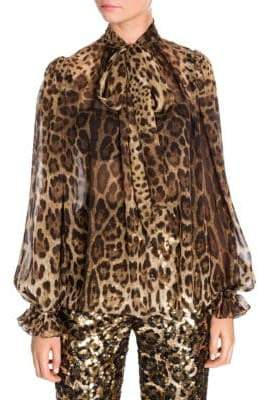 Dolce & Gabbana Leopard Tie-Neck Chiffon Blouse