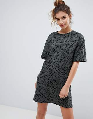 Asos Design Ultimate T-Shirt Dress In Leopard Print