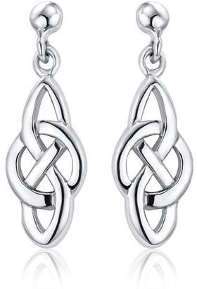Celtic Ornami Ladies Knot and Circle Drop Silver Earrings