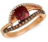 LeVian Raspberry Rhodolite, Vanilla & Chocolate Diamond, and 14K Strawberry Gold Solitaire Ring