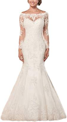 Lily Wedding Womens Long Sleeve Lace Mermaid Wedding Dresses 2018 Off Shoulder Bridal Gowns FWD002 White Size 4