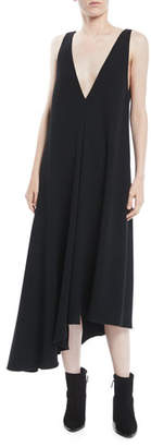 Tibi Asymmetric Sleeveless Midi Jumper Dress