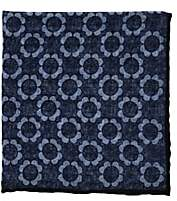Paolo Albizzati Men's Floral Wool Gauze Pocket Square - Navy