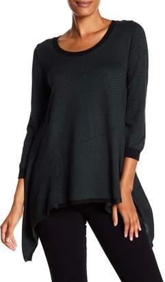 Max Studio Striped Sharkbite Sweater