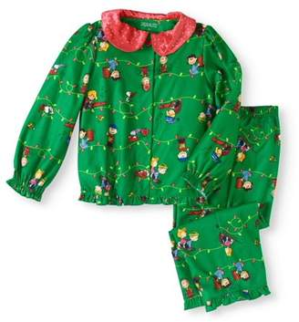 Peanuts Toddler Girls Holiday Button Front Pajamas 2pc Set