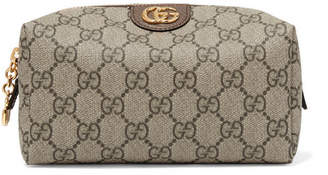 Gucci Ophidia Medium Textured Leather-trimmed Printed Coated-canvas Cosmetics Case - Beige