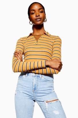 Topshop Womens Long Sleeve Stripe Zip Polo - Mustard