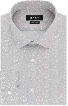DKNY Men's Slim-Fit Performance Stretch Gray & White Print Dress Shirt