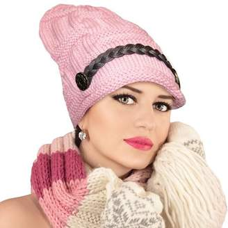 One And Only USA Top-Premium Women's Knitted Beanie Head Cap Leather Headwear Hats (Pink)