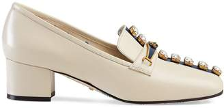 Gucci Leather pumps with crystal stripe