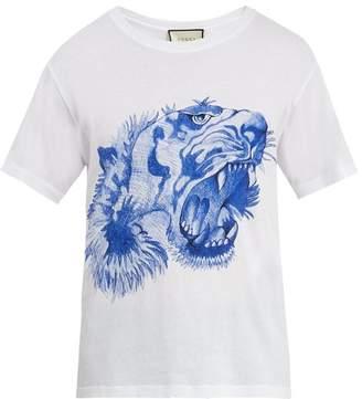 Gucci Tiger Print Cotton T Shirt - Mens - White Multi