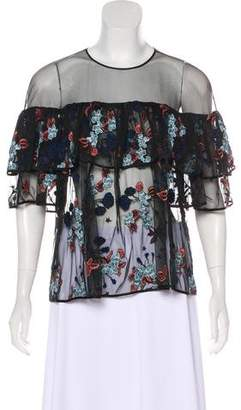 Cinq à Sept Embroidered Long Sleeve Top