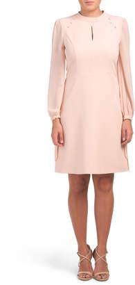 Mock Neck Chiffon Sleeve Shoulder Button Dress