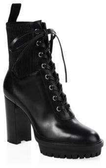 Gianvito Rossi Leather Lace-Up Stretch Bootie