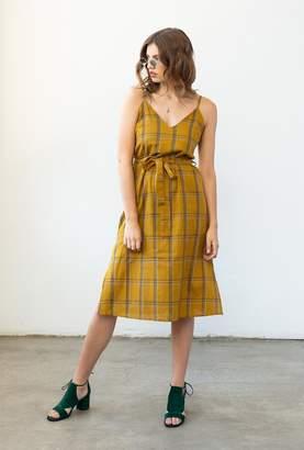 Azalea Strap Plaid Midi Dress