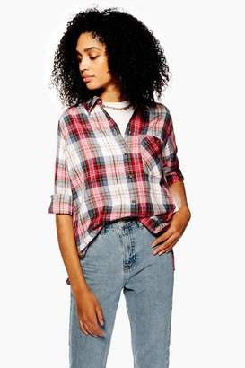Topshop Womens Washed Check Shirt