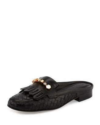 Sesto Meucci Maya Kiltie Woven Mule, Black $395 thestylecure.com