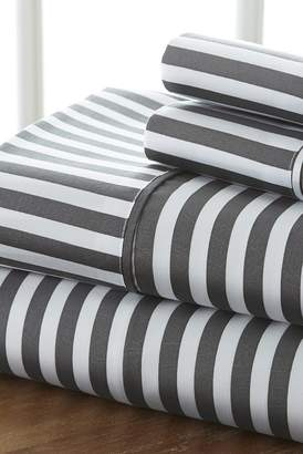 IENJOY HOME The Home Spun Premium Ultra Soft Ribbon Pattern 4-Piece King Bed Sheet Set - Gray