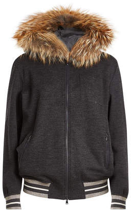 Brunello Cucinelli Zipped Cashmere Jacket with Fur-Trimmed Hood