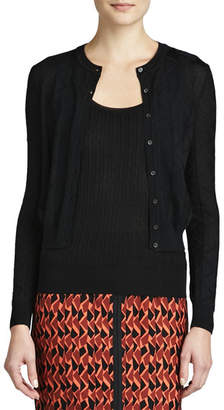 M Missoni Zigzag Crewneck Cropped Cardigan, Black