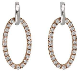 Bony Levy 18K Two-Tone Gold Pave Diamond Open Oval Drop Earrings - 0.23 ctw
