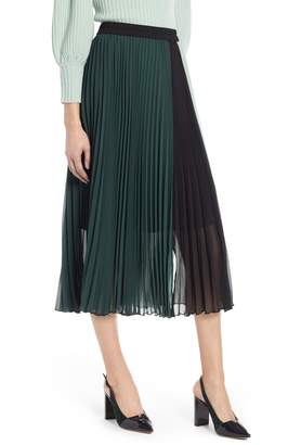 Halogen x Atlantic-Pacific Colorblock Pleated Midi Skirt