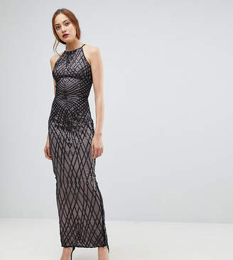 Little Mistress Tall Sequin Print Maxi Dress With Cross Back