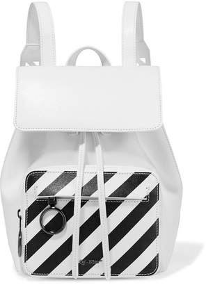 Off-White Striped Textured-leather Backpack - one size